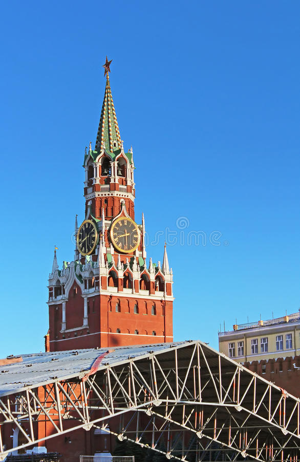 Torre del Cremlino di Mosca, Russia di Spaska fotografia stock