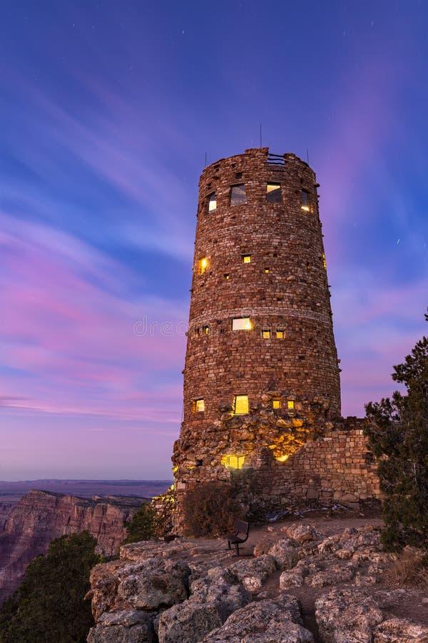 Torre del Desierto del Gran Cañón al atardecer imagen de archivo libre de regalías