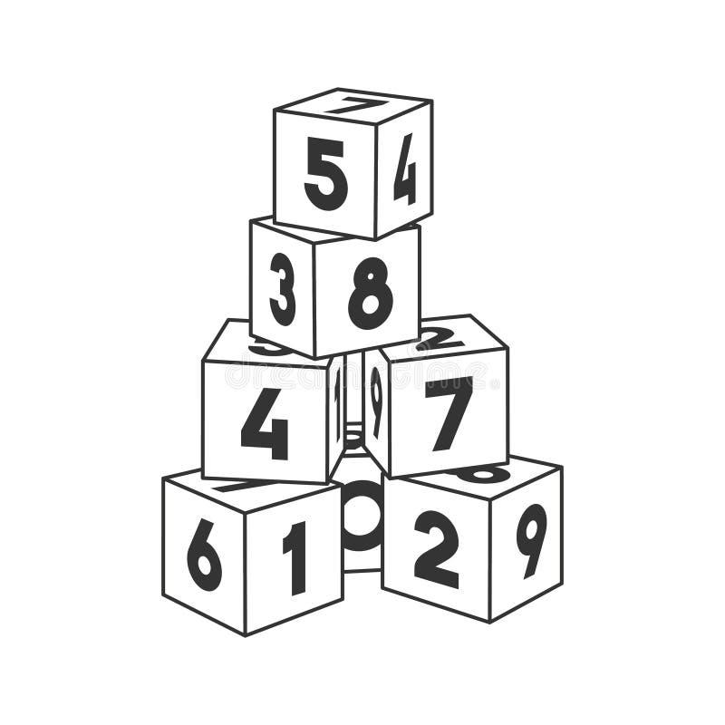 Torre del edificio del bloque del esquema con los números para el libro de colorear stock de ilustración