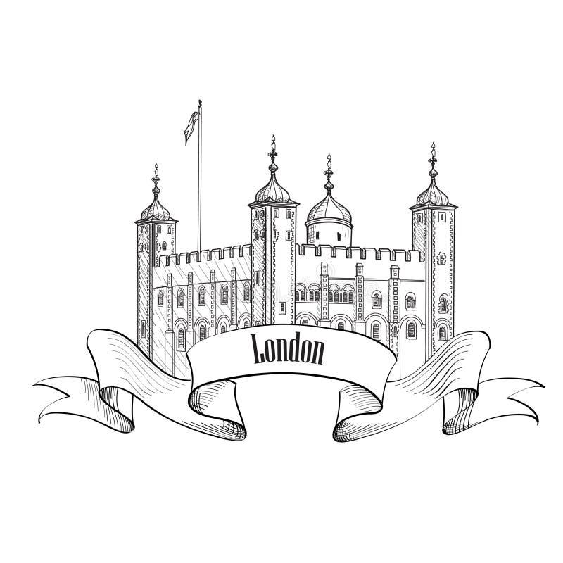 Torre del edificio famoso de Londres, Londres, Inglaterra, Reino Unido Londres sy ilustración del vector