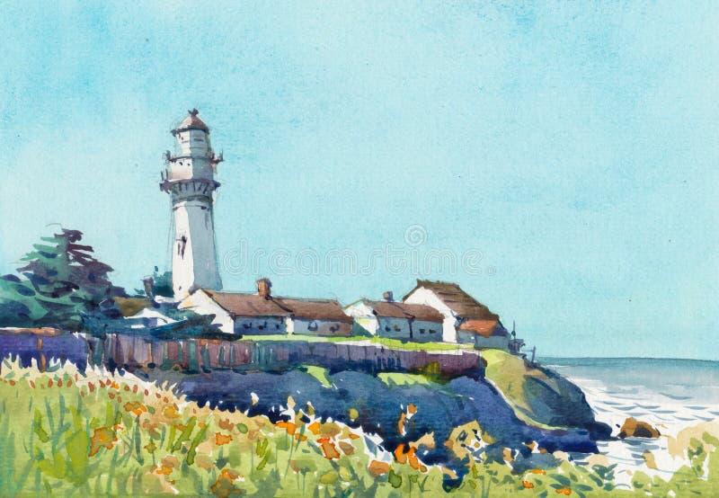 Torre del faro lungo la pittura disegnata a mano dell'acquerello di vista sul mare della costa illustrazione vettoriale
