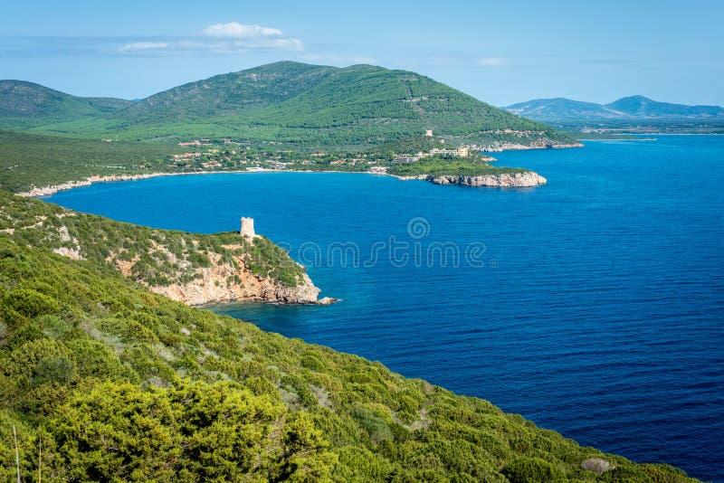 Torre del fortalecimiento de Buru en Cerdeña, Italia imagen de archivo