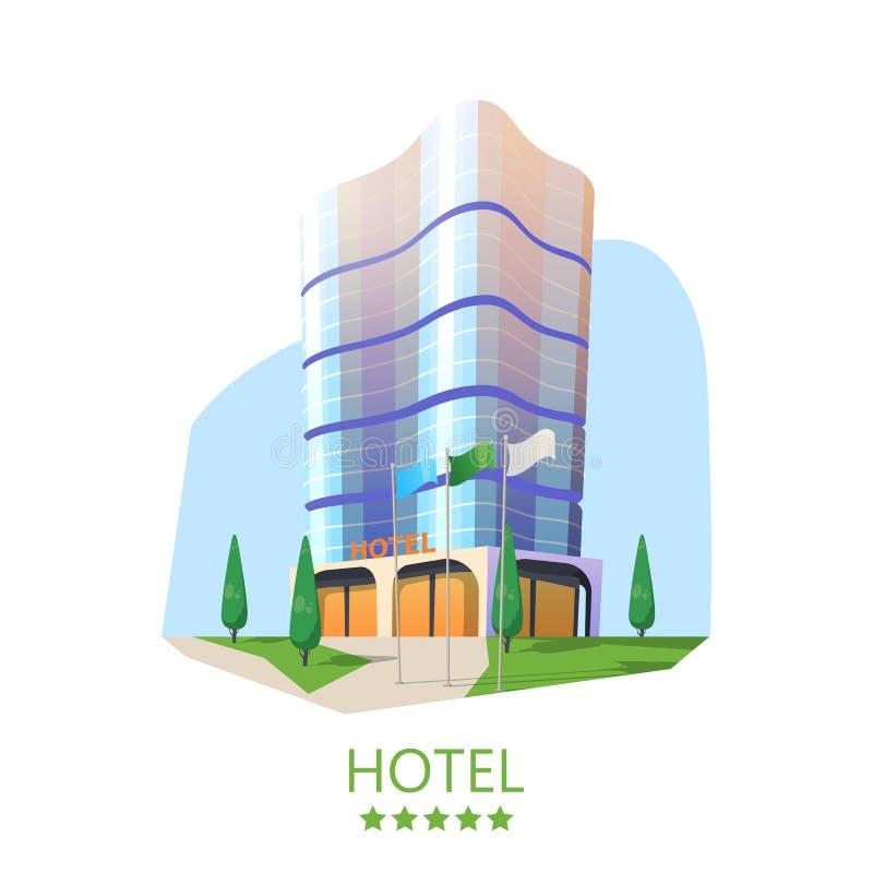 Torre del hotel o fachada del parador, rascacielos moderno ilustración del vector
