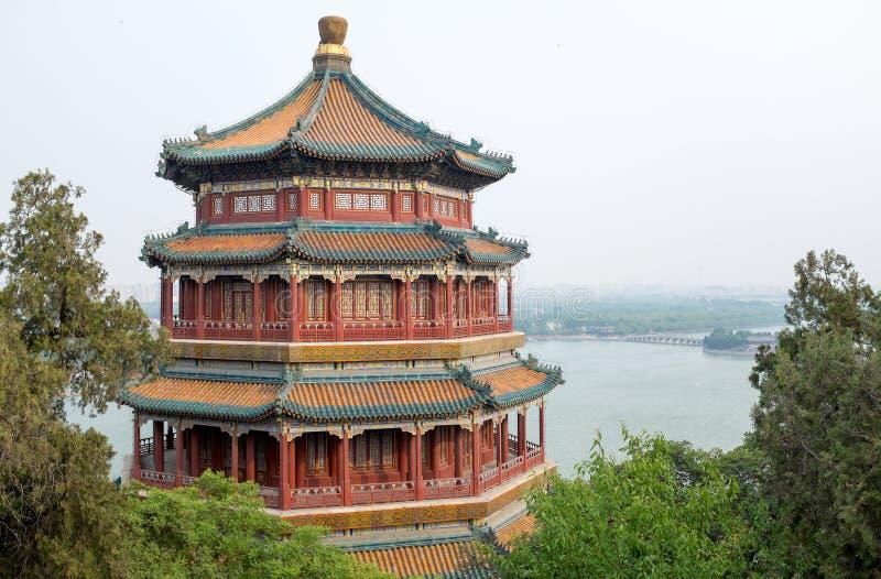Torre del incienso budista en el palacio de verano de Pekín, China foto de archivo