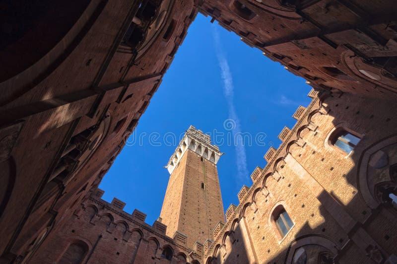 Torre del Mangia dal cortile 2 - Siena fotografia stock