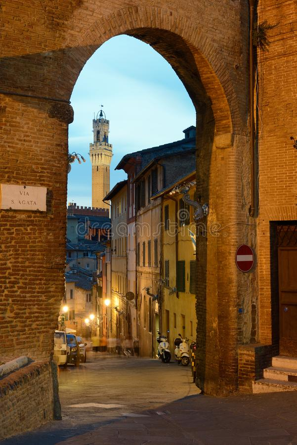 Torre del Mangia. Historical city of Siena Italy. stock photo