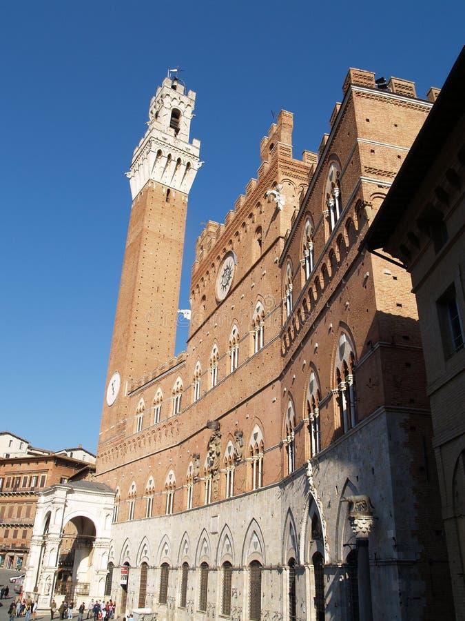 Torre del Mangia och stadshus royaltyfri foto