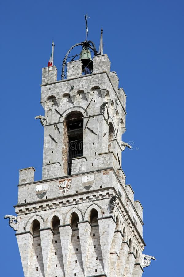 The Torre del Mangia and the Palazzo Publico in The Campo, Siena, Tuscany royalty free stock photos