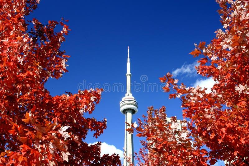 Torre del NC y los colores de la caída imagenes de archivo