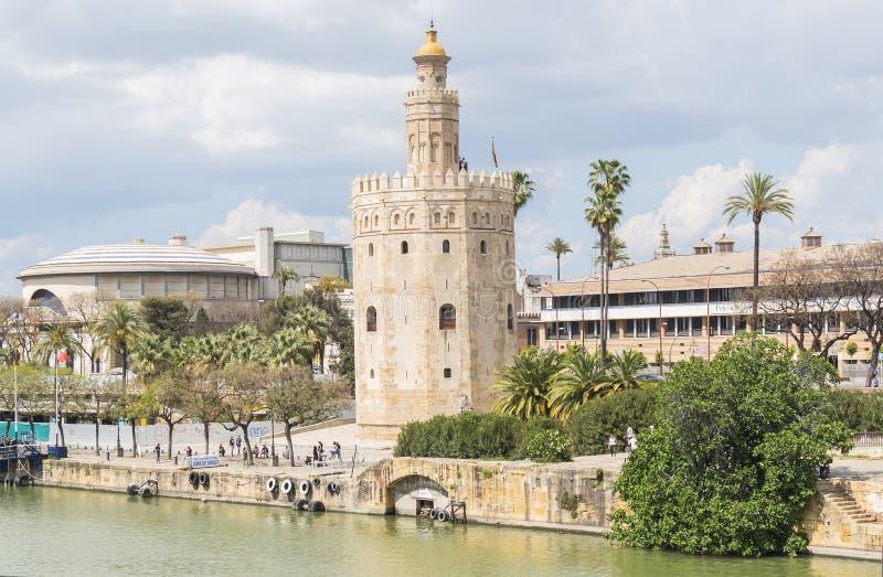 Torre del Oro, de rivier van Sevilla, Guadalquivir, Toren van goud, Sevil stock foto