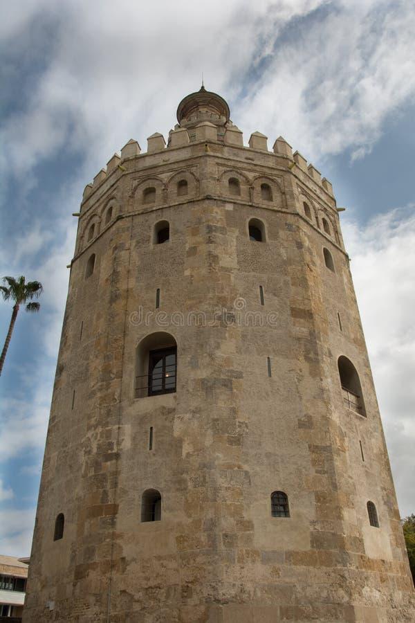 Torre del Oro em Sevilha fotografia de stock