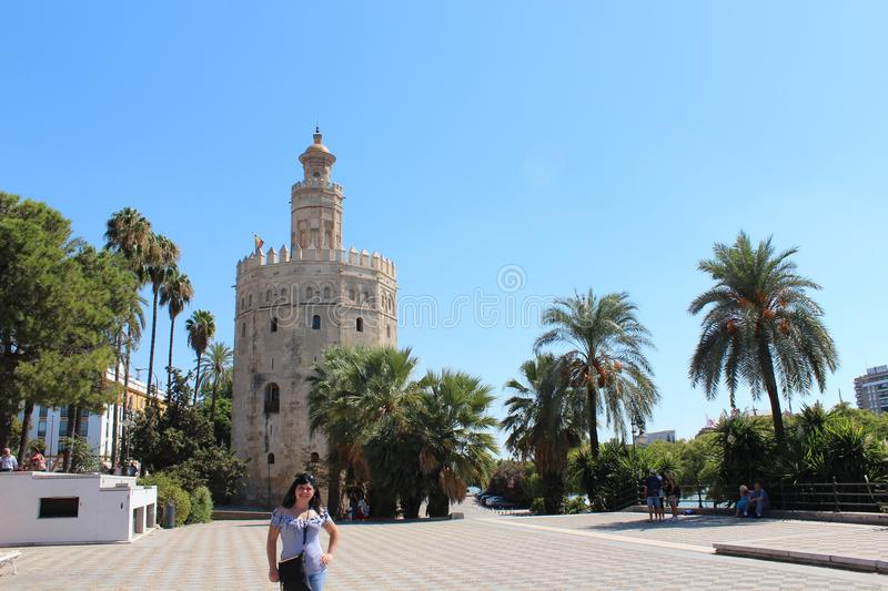 Torre del Oro and Giralda of Seville, Andalusia, Spain stock photography