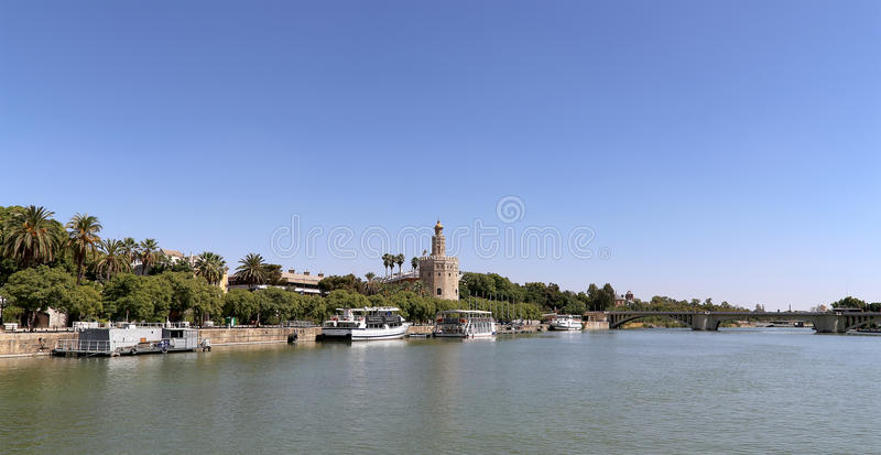 Torre del Oro or Golden Tower (13th century) over Guadalquivir river, Seville, Andalusia, southern Spain royalty free stock photography