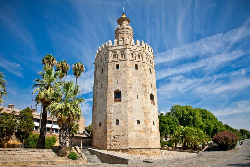 Torre del Oro (Gouden Toren), Sevilla, Spanje stock afbeeldingen