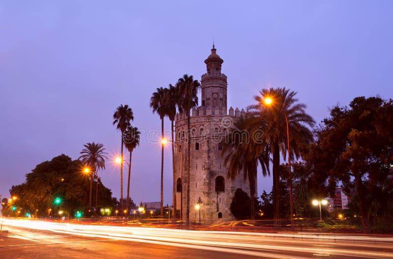 Torre del Oro i Sevilla, Spanien royaltyfri bild