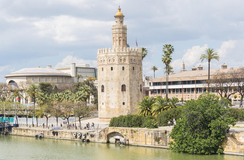 Torre del Oro, Séville, rivière du Guadalquivir, tour d'or, Sevil photo stock