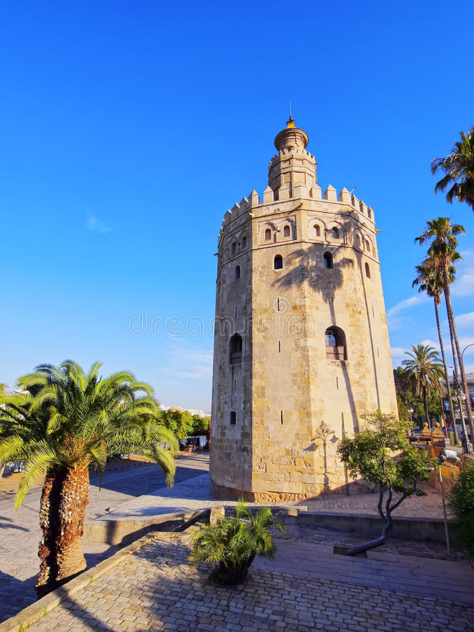 Torre del Oro in Sevilla, Spanje stock foto