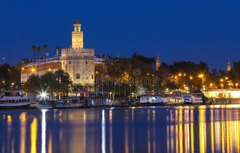 Torre del Oro -Tower of Gold on the bank of the Guadalquivir river, Seville, Spain royalty free stock image