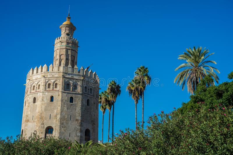 The Torre del Oro tower in Seville, Spain. The Torre del Oro in Seville is an albarrana tower located on the left bank of the Guadalquivir River. It houses the royalty free stock photos