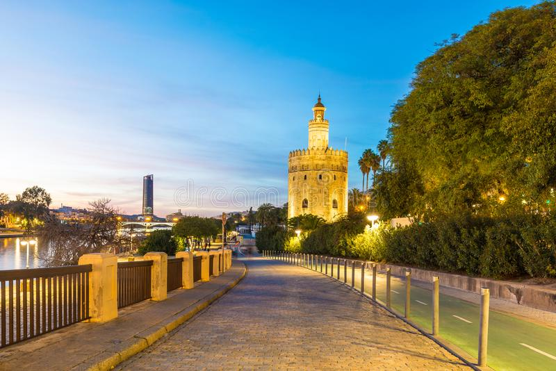 The Torre del Oro tower in Seville, Spain. The Torre del Oro in Seville is an albarrana tower located on the left bank of the Guadalquivir River. It houses the stock images