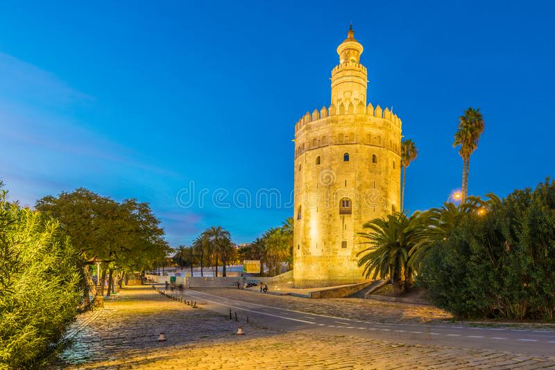 The Torre del Oro tower in Seville, Spain. The Torre del Oro in Seville is an albarrana tower located on the left bank of the Guadalquivir River. It houses the royalty free stock photography