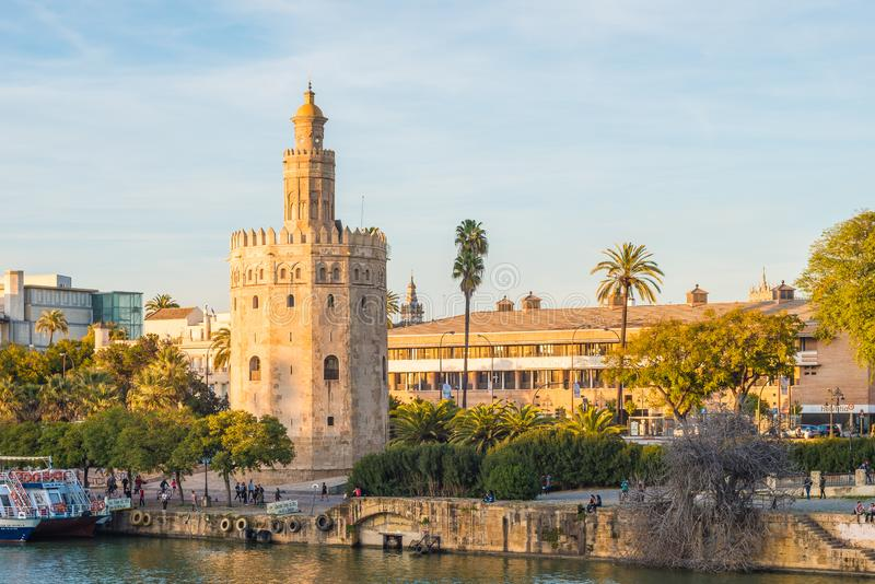 The Torre del Oro tower in Seville, Spain. SEVILLE, ES - MARCH 7, 2017: The Torre del Oro in Seville is an albarrana tower located on the left bank of the royalty free stock photography