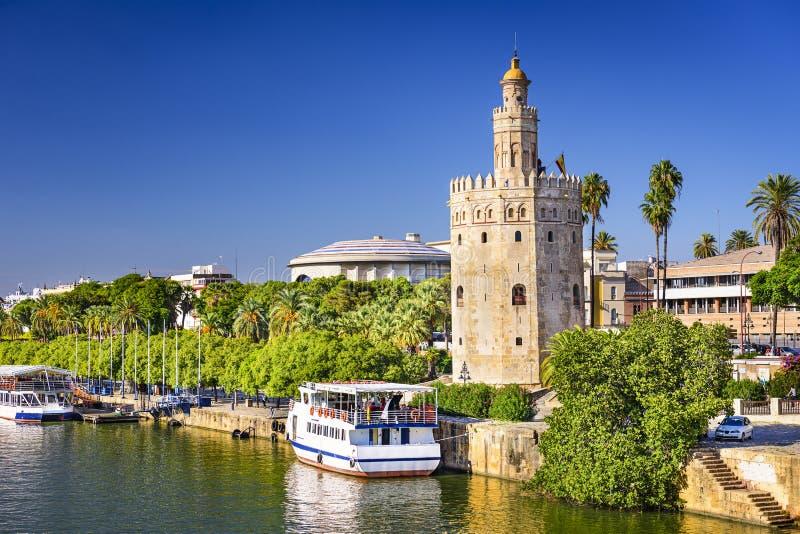 Torre del Oro Tower van Sevilla stock foto's