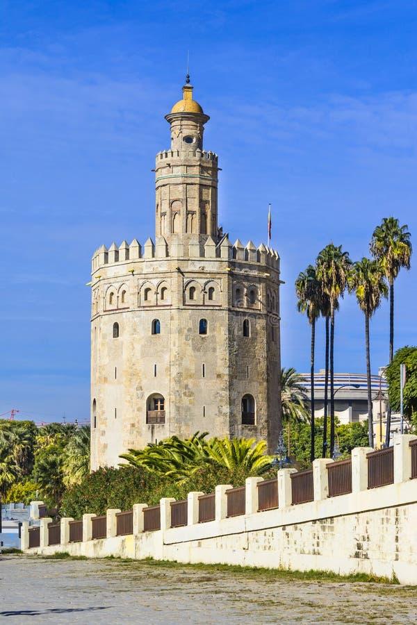 Torre del Oro Tower van Sevilla royalty-vrije stock foto's