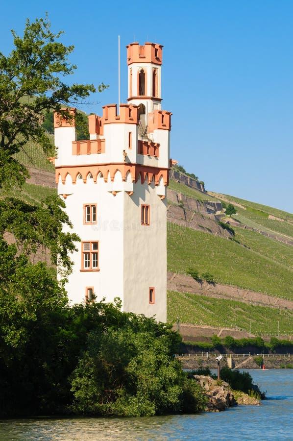 Torre del ratón (Maeuseturm)/valle del Rin imagen de archivo