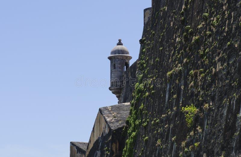 Torre del reloj de Puerto Rico Historic Fortification imagen de archivo