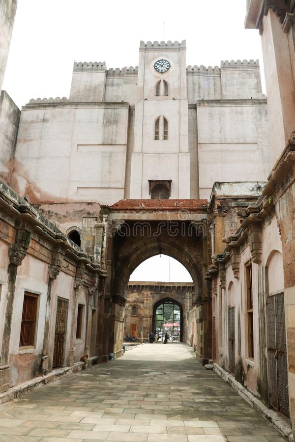 Torre del reloj del fuerte de Bhadra, Ahmadabad - la India imagen de archivo libre de regalías