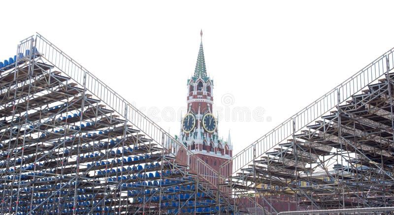 Torre del salvatore della parete di Cremlino di Mosca immagine stock