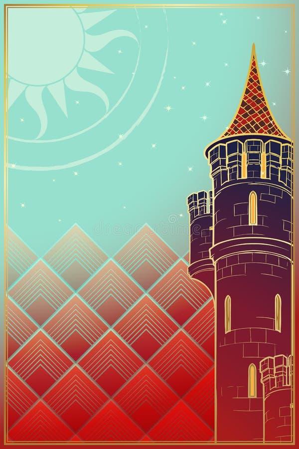 Torre del sol levante Disegno di concetto di fantasia royalty illustrazione gratis