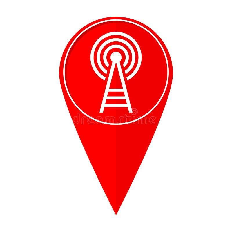 Torre del trasmettitore del puntatore della mappa illustrazione di stock