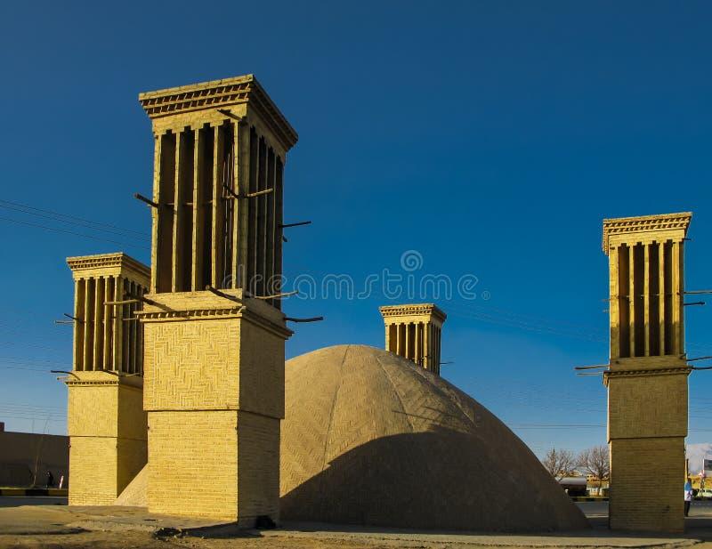 Torre del vento di raffreddamento, Yazd, Iran immagini stock