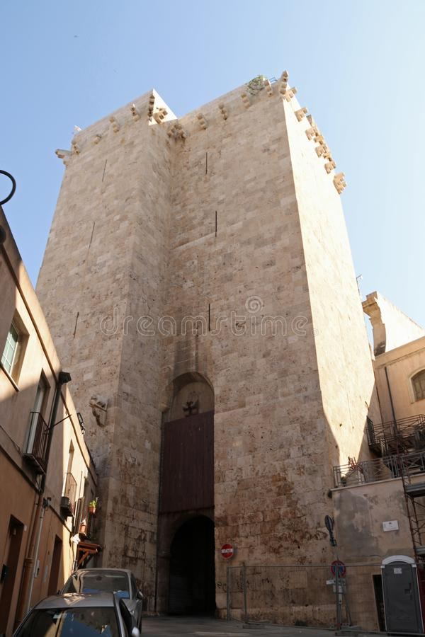 Torre Dell`Elephante. The Torre dell`Elefante Italian: `Tower of the Elephant` is a medieval tower in Cagliari, southern Sardinia, Italy. It is located in the stock photo