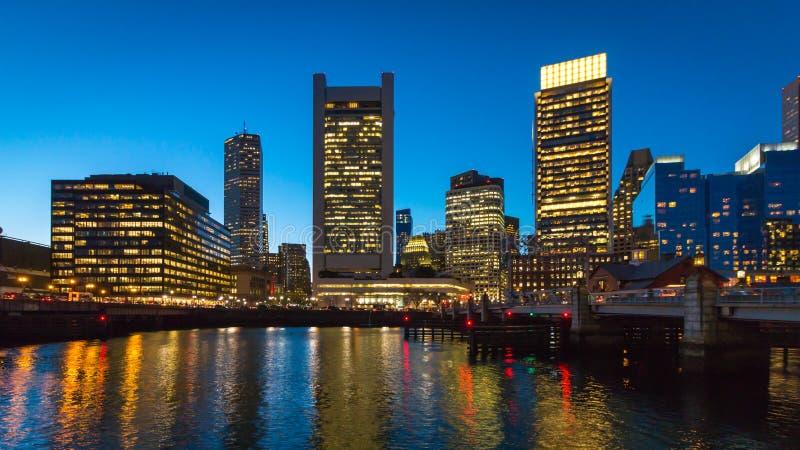 Torre dell'orizzonte della città di Boston e grattacieli urbani immagine stock