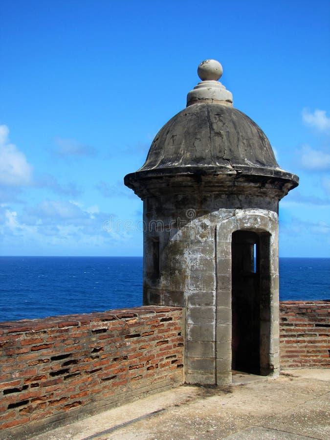 Torre dell'orologio al castello di San Cristobal immagine stock libera da diritti