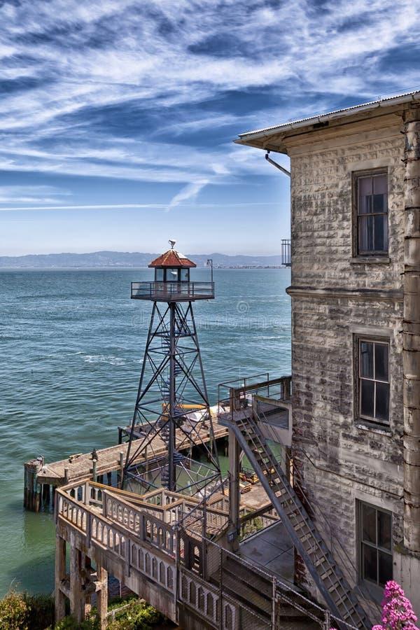Torre dell'orologio di Alcatraz fotografia stock libera da diritti