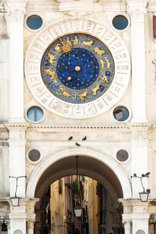 Torre dell'Orologio. Famous XV century St Marks clock tower on Piazza San Marco in Venice stock images