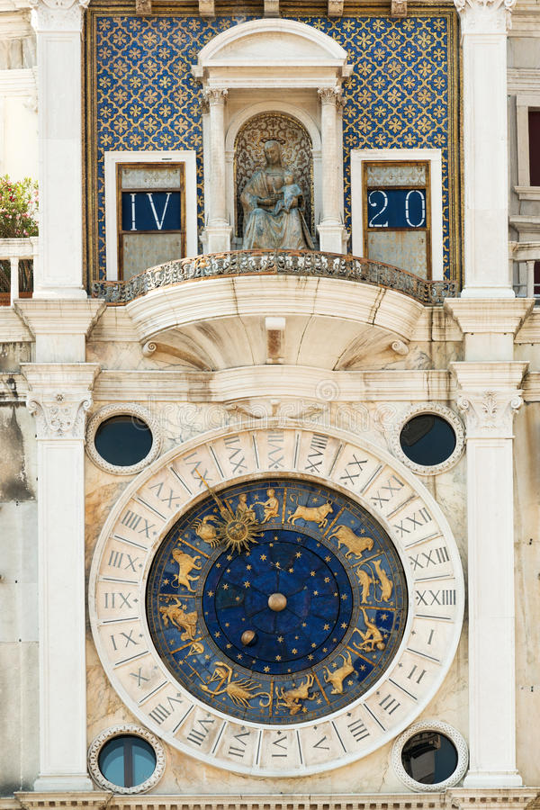 Torre dellOrologio. Famous XV century St Marks clock tower on Piazza San Marco in Venice royalty free stock photo