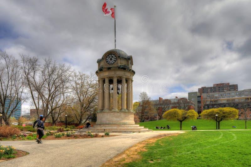 Torre dell'orologio nel Victoria Park, Kitchener, Ontario, Canada fotografia stock libera da diritti