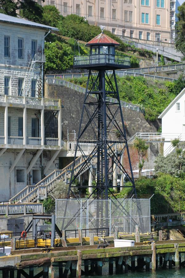 Torre dell'orologio sull'isola di Alcatraz fotografia stock