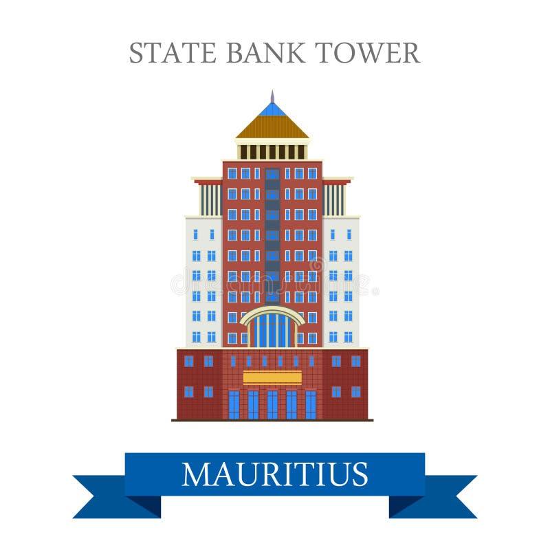 Torre della banca statale in Mauritius Vettore piano del fumetto royalty illustrazione gratis