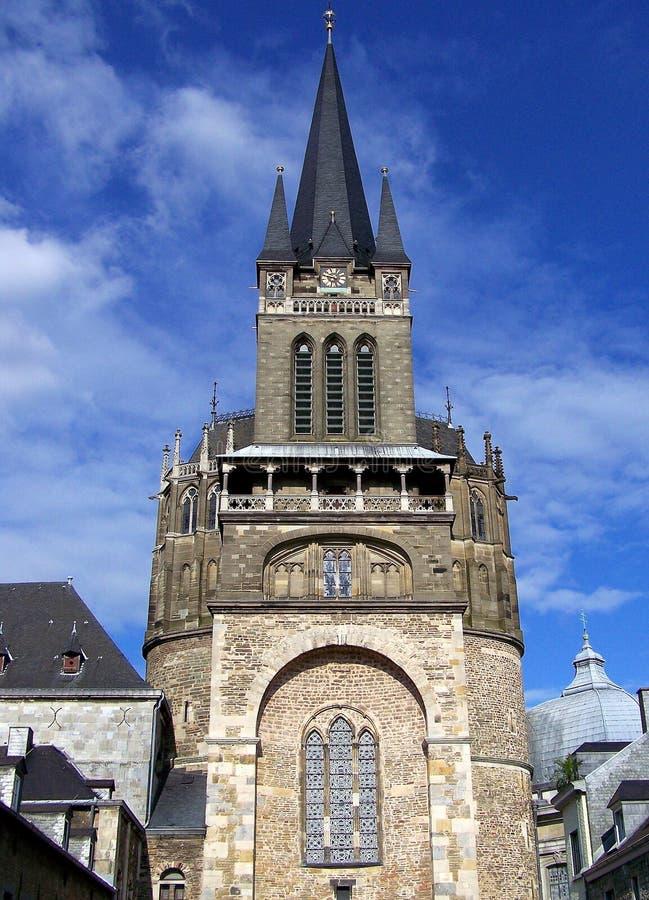 Torre della cattedrale, Aquisgrana fotografie stock