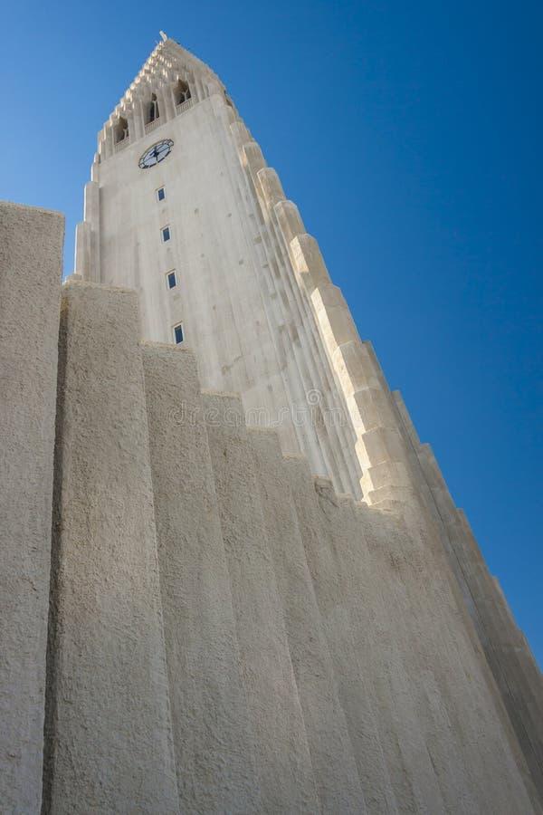 Torre della chiesa di Hallgrimskirkja - Islanda. fotografia stock