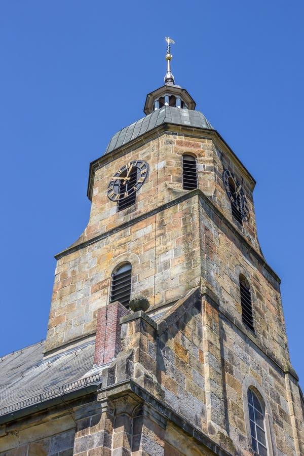 Torre della chiesa protestante riformata di cattivo Bentheim immagini stock libere da diritti