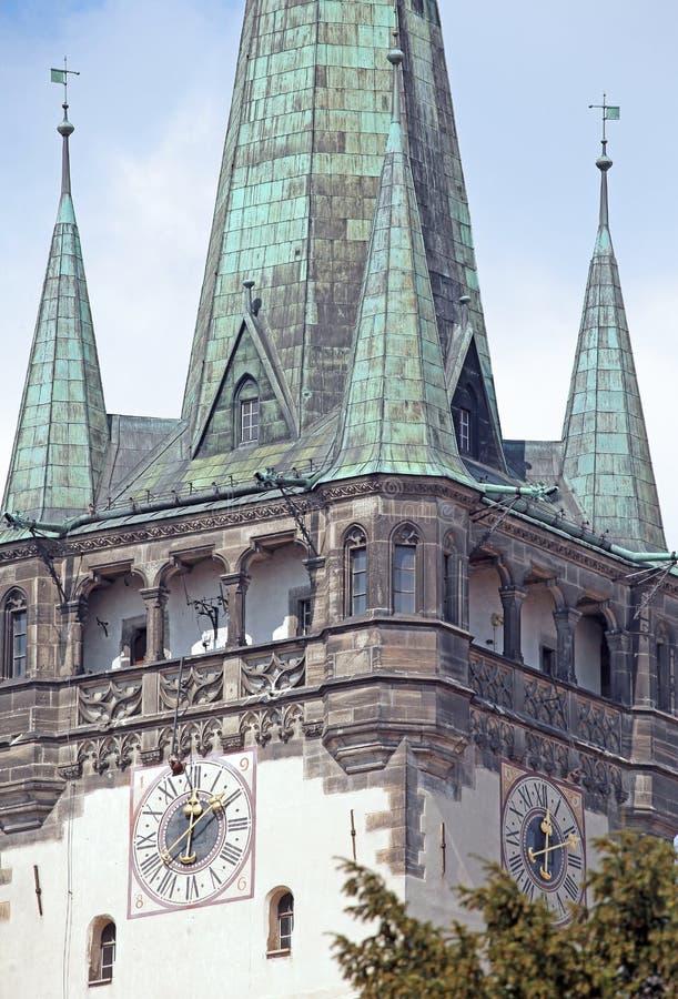 Torre della città Presov, Slovacchia della chiesa fotografia stock