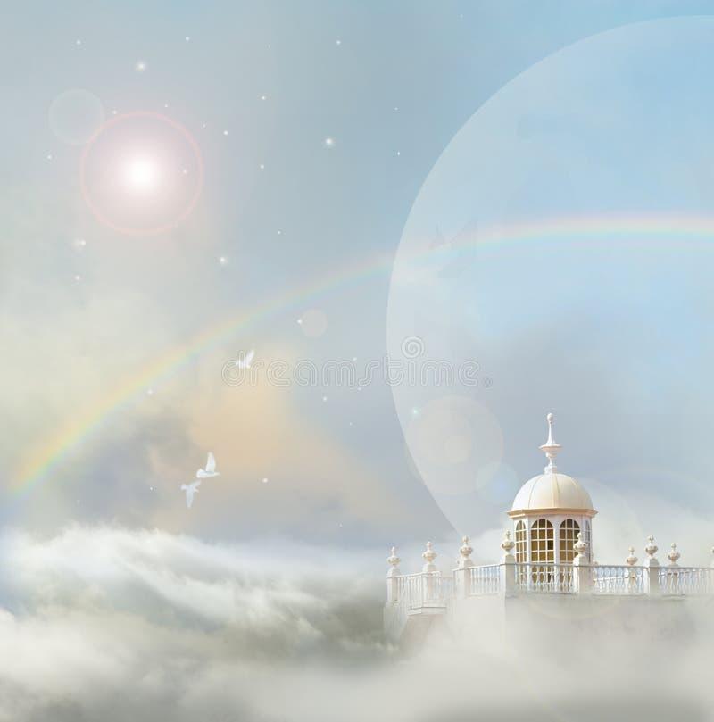 Torre della colomba con le stelle illustrazione vettoriale