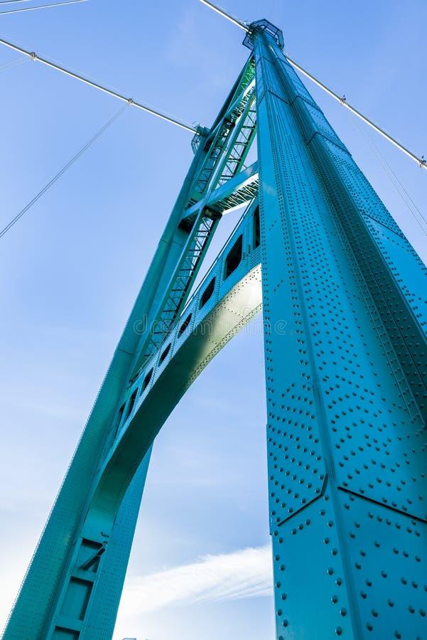 Torre della sospensione del ponte del portone del leone, Vancouver, BC fotografia stock
